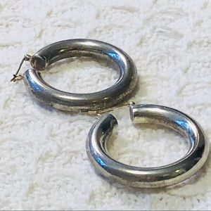 "Jewelry - EARRINGS Sterling Silver 1.25"" hoop"